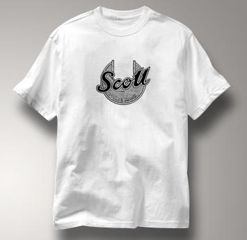 Scott Motorcycle T Shirt Vintage Logo WHITE British Motorcycle T Shirt Vintage Logo T Shirt