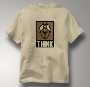 Peace T Shirt Think Peace TAN Think Peace T Shirt