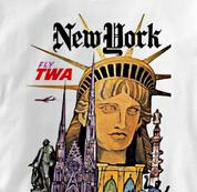 TWA T Shirt New York WHITE Airlines T Shirt Aviation T Shirt New York T Shirt