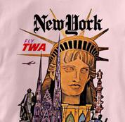 TWA T Shirt New York PINK Airlines T Shirt Aviation T Shirt New York T Shirt
