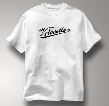Velocette Motorcycle T Shirt Vintage Logo WHITE British Motorcycle T Shirt Vintage Logo T Shirt
