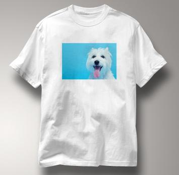Westie T Shirt Portrait West Highland White Terrier WHITE Dog T Shirt Portrait West Highland White Terrier T Shirt